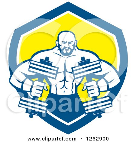 Clipart of a Retro Muscular Male Bodybuilder with Dumbbells in a Blue White and Yellow Shield - Royalty Free Vector Illustration by patrimonio