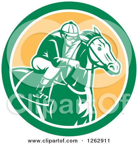 Clipart of a Retro Racing Jockey in a Green White and Yellow Circle - Royalty Free Vector Illustration by patrimonio
