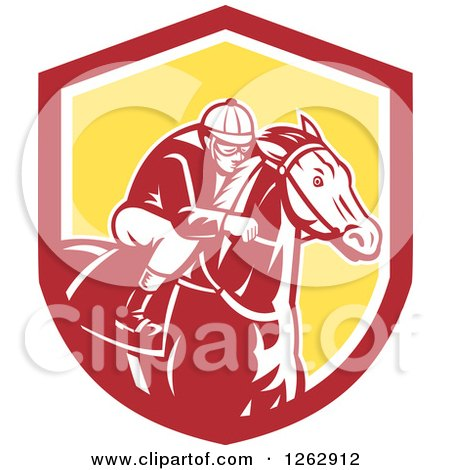 Clipart of a Retro Racing Jockey in a Red White and Yellow Shield - Royalty Free Vector Illustration by patrimonio