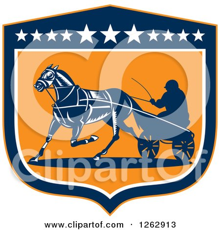 Clipart of a Retro Man Horse Harness Racing in a Blue White and Orange Shield - Royalty Free Vector Illustration by patrimonio