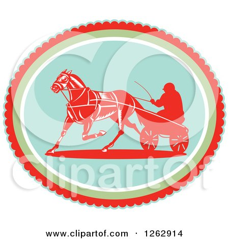 Clipart of a Retro Man Horse Harness Racing in an Oval - Royalty Free Vector Illustration by patrimonio