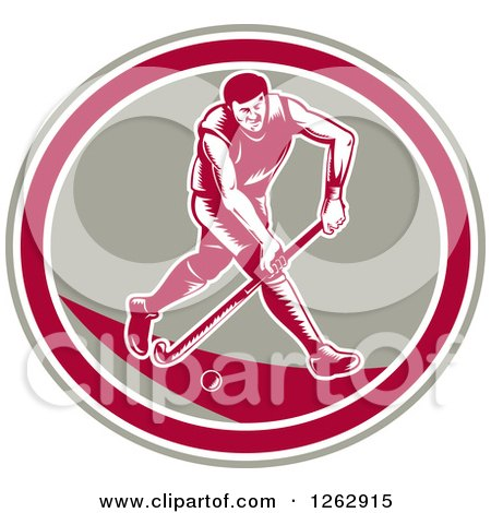 Clipart of a Retro Woodcut Male Field Hokey Player in a Taupe White and Pink Oval - Royalty Free Vector Illustration by patrimonio