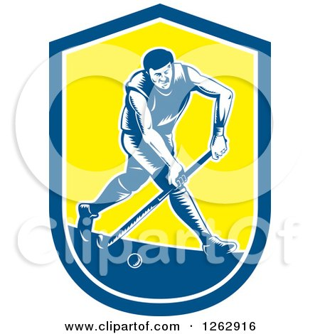 Clipart of a Retro Woodcut Male Field Hokey Player in a Blue White and Yellow Shield - Royalty Free Vector Illustration by patrimonio