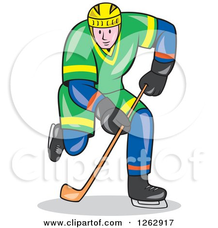 Clipart of a Cartoon Ice Hockey Player in Action - Royalty Free Vector Illustration by patrimonio