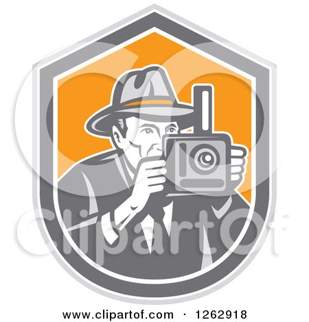 Clipart of a Retro Male Photographer in a Fedora Hat in a Gray White and Orange Shield - Royalty Free Vector Illustration by patrimonio