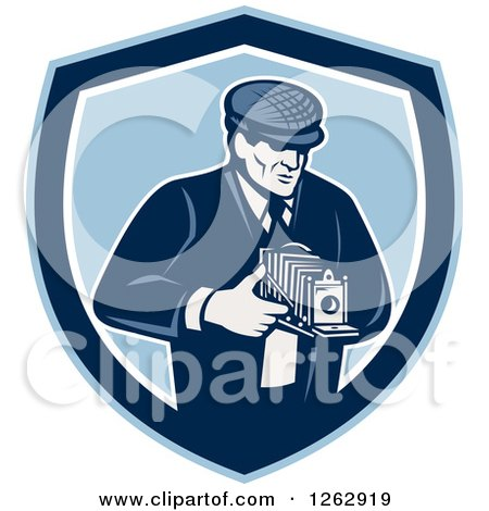 Clipart of a Retro Male Photographer Using a Bellows Camera in a Blue and White Shield - Royalty Free Vector Illustration by patrimonio