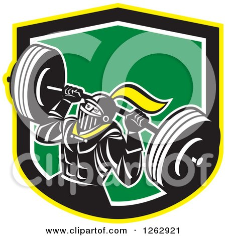 Clipart of a Retro Muscular Knight Doing Squats and Working out with a Barbell in a Yellow Black White and Green Shield - Royalty Free Vector Illustration by patrimonio