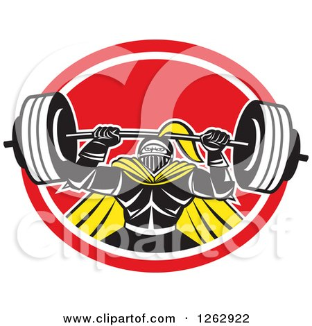 Clipart of a Retro Muscular Knight Doing Squats and Working out with a Barbell in a Red and White Oval - Royalty Free Vector Illustration by patrimonio