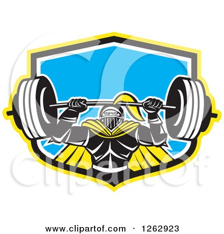 Clipart of a Retro Muscular Knight Doing Squats and Working out with a Barbell in a Yellow Black White and Blue Shield - Royalty Free Vector Illustration by patrimonio