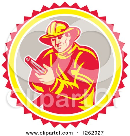 Clipart of a Retro Fireman Holding a Hose in a Yellow Gray White and Red Circle - Royalty Free Vector Illustration by patrimonio