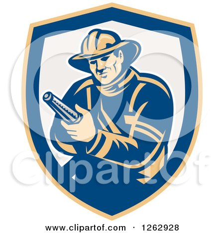 Clipart of a Retro Fireman Holding a Hose in a Yellow Blue and Taupe Shield - Royalty Free Vector Illustration by patrimonio