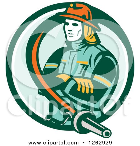 Clipart of a Retro Fireman Encircled with a Hose in a Green and White Circle - Royalty Free Vector Illustration by patrimonio