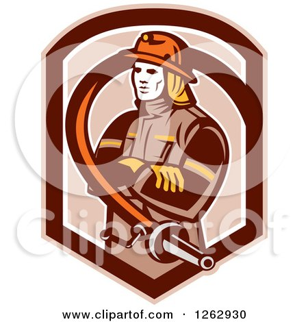 Clipart of a Retro Fireman Encircled with a Hose in a Brown Shield - Royalty Free Vector Illustration by patrimonio