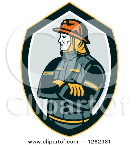 Clipart of a Retro Fireman with Folded Arms in a Shield - Royalty Free Vector Illustration by patrimonio