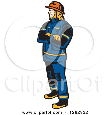 Clipart of a Retro Fireman Standing with Folded Arms - Royalty Free Vector Illustration by patrimonio