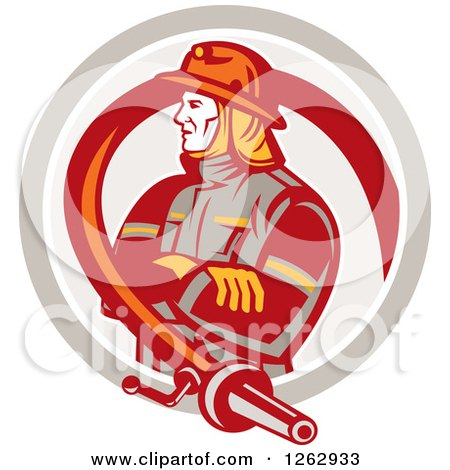 Clipart of a Retro Fireman Encircled with a Hose in a Circle - Royalty Free Vector Illustration by patrimonio