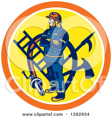 Clipart of a Retro Fireman with Tools and a Hose in an Orange White and Yellow Circle - Royalty Free Vector Illustration by patrimonio