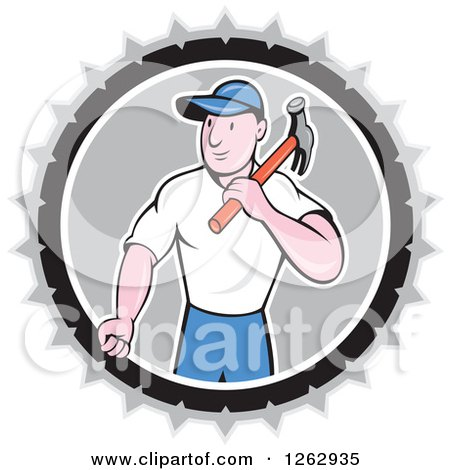 Retro Cartoon Carpenter with a Hammer in a Gray White and Black Circle Posters, Art Prints