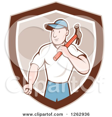Clipart of a Retro Cartoon Carpenter with a Hammer in a Brown and White Shield - Royalty Free Vector Illustration by patrimonio