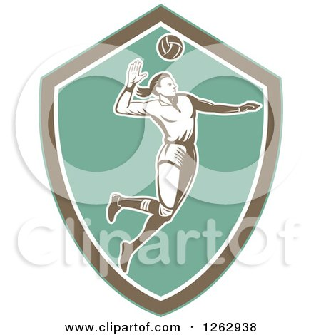 Clipart of a Retro Woodcut Female Volleyball Player Spiking in a Turquoise Brown and White Shield - Royalty Free Vector Illustration by patrimonio