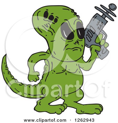 Clipart of a Green Alien Dinosaur with a Ray Gun - Royalty Free Vector Illustration by patrimonio
