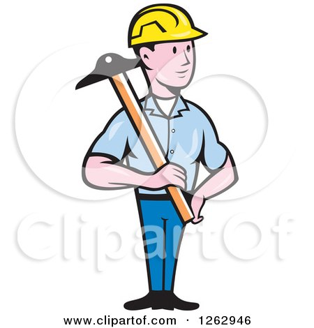 Clipart of a Cartoon Male Engineer Holding a T Square - Royalty Free Vector Illustration by patrimonio