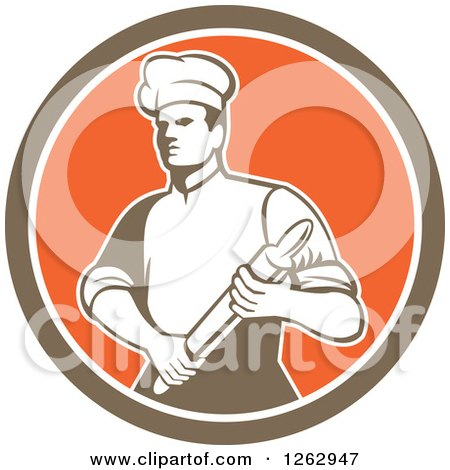 Clipart of a Retro Male Chef or Baker Holding a Rolling Pin in a Brown White and Orange Circle - Royalty Free Vector Illustration by patrimonio