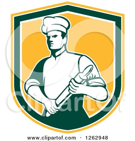 Clipart of a Retro Male Chef or Baker Holding a Rolling Pin in a Yellow White and Green Shield - Royalty Free Vector Illustration by patrimonio