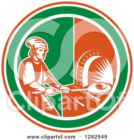Clipart of a Retro Woodcut Medieval Baker Putting Bread in a Stone Oven in a Red White and Green Circle - Royalty Free Vector Illustration by patrimonio