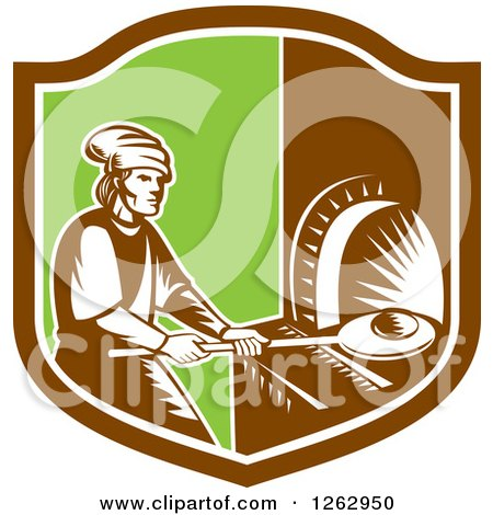 Clipart of a Retro Woodcut Medieval Baker Putting Bread in a Stone Oven in a Brown White and Green Shield - Royalty Free Vector Illustration by patrimonio