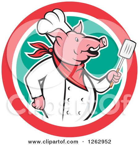 Clipart of a Cartoon Chef Pig Holding a Spatula in a Red White and Green Circle - Royalty Free Vector Illustration by patrimonio