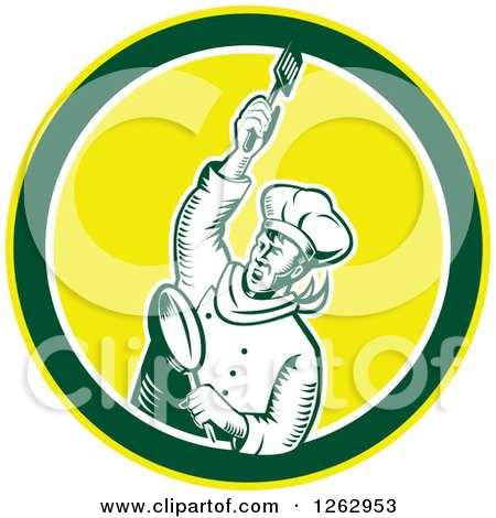 Clipart of a Retro Woodcut Revolutionary Chef with a Spatula and Frying Pan in a Green White and Yellow Circle - Royalty Free Vector Illustration by patrimonio