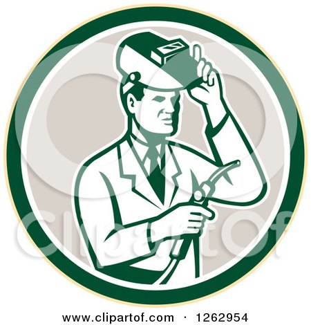 Clipart of a Retro Male Scientist Welding in a Yellow Green White and Taupe Circle - Royalty Free Vector Illustration by patrimonio