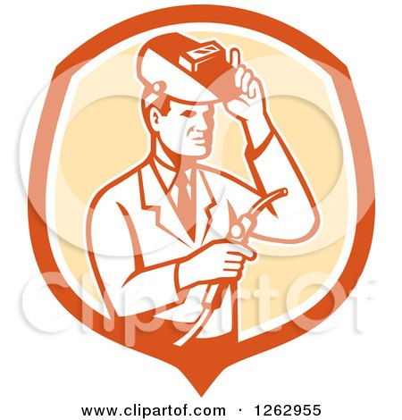 Clipart of a Retro Male Scientist Welding in an Orange and White Shield - Royalty Free Vector Illustration by patrimonio