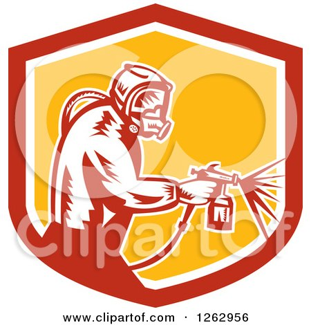 Clipart of a Retro Woodcut Painter Using a Spray Gun in a Red White and Yellow Shield - Royalty Free Vector Illustration by patrimonio