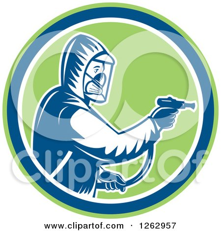 Retro Woodcut Pest Control Exterminator Spraying in a Green Blue and White Circle Posters, Art Prints