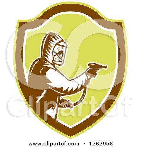 Clipart of a Retro Woodcut Pest Control Exterminator Spraying in a Brown and Green Shield - Royalty Free Vector Illustration by patrimonio