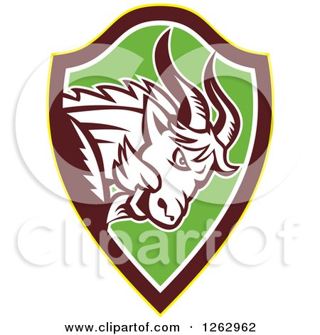 Clipart of a Retro Aggressive Mountain Goat Ram in a Yellow Brown White and Green Shield - Royalty Free Vector Illustration by patrimonio