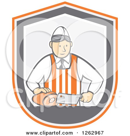 Clipart of a Retro Cartoon Male Butcher Slicing Ham in an Orange White and Gray Shield - Royalty Free Vector Illustration by patrimonio