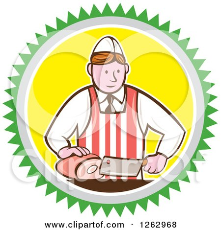 Clipart of a Retro Cartoon Male Butcher Slicing Ham in a Green Gray White and Yellow Circle - Royalty Free Vector Illustration by patrimonio