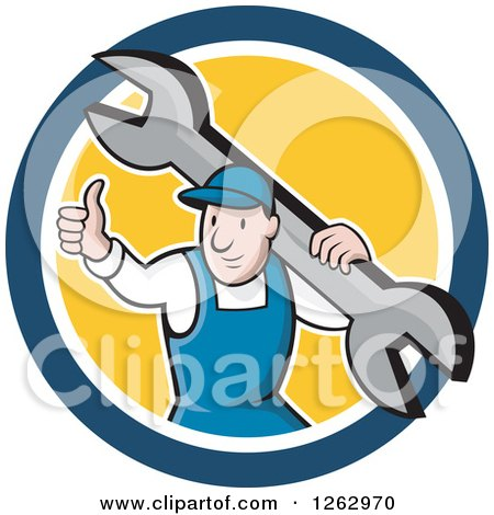 Clipart of a Cartoon Male Mechanic Holding a Thumb up and Carrying a Giant Wrench in a Blue White and Yellow Circle - Royalty Free Vector Illustration by patrimonio
