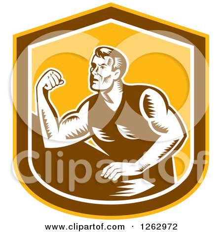 Clipart of a Retro Woodcut Male Arm Wrestling Champion in a Yellow Brown and White Shield - Royalty Free Vector Illustration by patrimonio