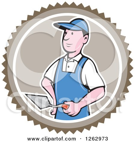 Clipart of a Cartoon Male Bricklayer with a Trowel in a Brown Circle - Royalty Free Vector Illustration by patrimonio
