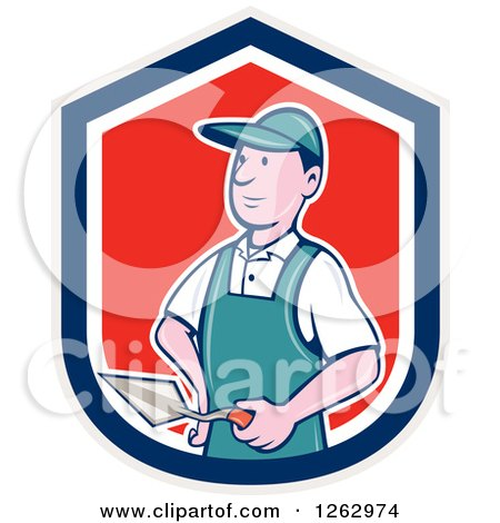 Clipart of a Cartoon Male Bricklayer with a Trowel in a Gray Blue White and Red Shield - Royalty Free Vector Illustration by patrimonio