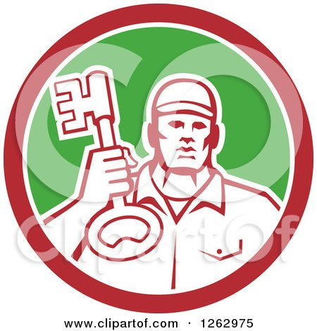 Clipart of a Retro Male Locksmith Holding up a Key in a Red White and Green Circle - Royalty Free Vector Illustration by patrimonio