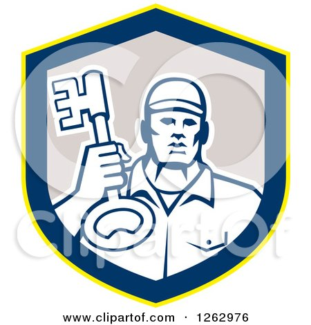 Clipart of a Retro Male Locksmith Holding up a Key in a Yellow Blue and Gray Shield - Royalty Free Vector Illustration by patrimonio