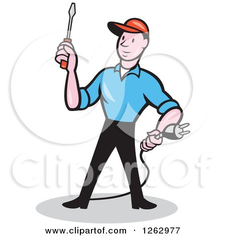 Clipart of a Cartoon Male Electrician Holding a Scredriver and Plug - Royalty Free Vector Illustration by patrimonio