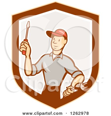Clipart of a Cartoon Male Electrician Holding a Scredriver and Plug in a Shield - Royalty Free Vector Illustration by patrimonio