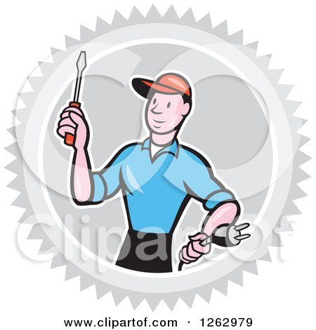 Clipart of a Cartoon Male Electrician Holding a Scredriver and Plug in a Gray Burst Circle - Royalty Free Vector Illustration by patrimonio