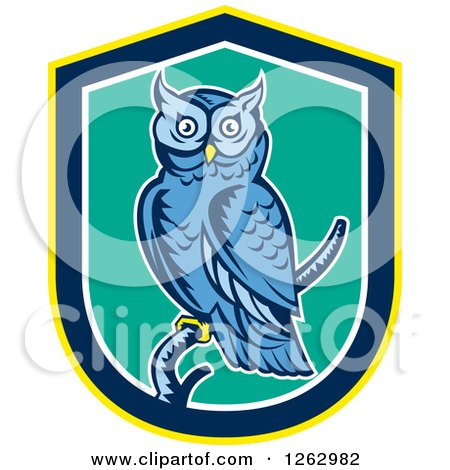 Clipart Of A Retro Woodcut Blue Great Horned Owl In A Yellow Blue White And Turquoise Shield Royalty Free Vector Illustration